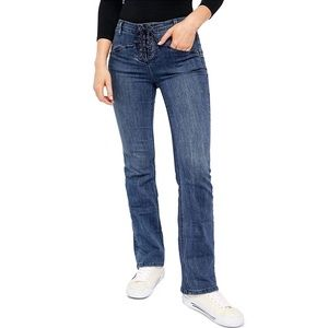 Free People | Eva High Rise Lace Up Boot Cut Jeans
